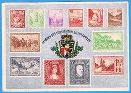 """Liechtenstein 1938: Zu 107 Mi 128 Yv 119 Bild-PK (CPI) """"Landschaften Fürstenpaar Wappen"""" (1933/6) Mit O VADUZ 21.VII.36 - Liechtenstein"""