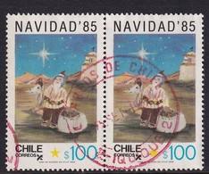 Chile 1985, Christmas, Pair Minr 1105, Vfu - Chile