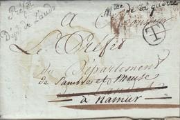 """Lac Datéede Paris 24 Floreal An XIII Par Griffe PREFET / Dpt De L'AUDE + Mtre / De La Guerre + """" T""""ENCERCLE-> ( Ann - 1801-1848: Precursors XIX"""