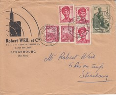 Env Affr Michel 242 X 3 + 274 X 2 + 293 Obl NEUNKIRCHEN (SAAR) Du 9.11.50 Adressée à Strasbourg - 1947-56 Occupation Alliée