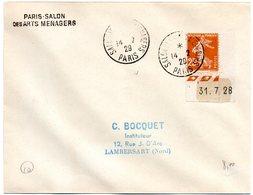 PARIS 1929 = CACHET PETIT FORMAT TEMPORAIRE  = SALON DES ARTS MENAGERS + SEMEUSE + Coin Daté - Postmark Collection (Covers)