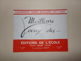 Calendrier Année Scolaire 1957-1958 - Big : 1941-60
