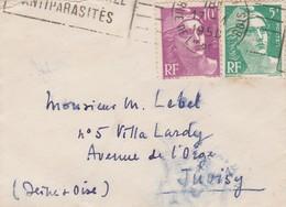 Lettre Envoyée à Juvisy Sur Orge ( 91 ) En 1950 ,  Petit Format  9 Cm X 6,5 Cm  ( Rare ) - Postmark Collection (Covers)
