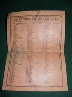 CALENDRIER PROTESTANT 1914 - Calendriers