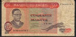ZAIRE P16c 50 MAKUTA  4.10.1975 FINE 2 P.h. - Zaire