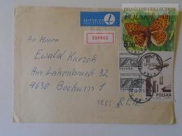 W512.1 Poland Express Airmail Cover 1978 Sent To Germany Cancel Tarnówskie Gory-Frankfurt A.M.Düsseldorf Airport- Bochum - 1944-.... République