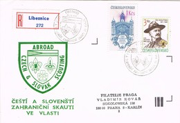 32759. Carta Certificada LIBEZNICE (Checoslovaquia) 1991. SCOUT. Slovak Scouting - Lettres & Documents