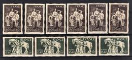FRANCE 1943 - LOT 10 TP NEUFS**  Y.T. N° 585 X 6 / 586 X 4 / - France