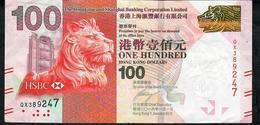 HONG-KONG P214e 100  DOLLARS 1.1.2016  #QX  HSBC VF NO P.h. - Hong Kong