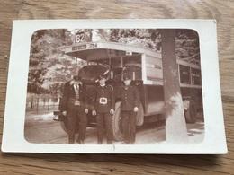 Photo D'un Bus Parisien Avec Conducteurs Années 30 RATP 11 X 7 Cm - Automobiles