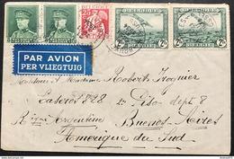 N. 323 + PA3, 5 Fr. Vert En Pair + 2 Fr Aerienne En Pair, Sur Enveloppe De Bruxelles 21/12/1934 Pour Argentine - 1931-1934 Kepi