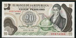 COLOMBIA P409d 20 PESOS 1.1.1983  UNC. - Colombia