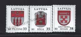 Lettonie – Latvia – Letonia 2012 Yvert 798-800, Definitive Set, Coat Of Arms - MNH - Lettonie