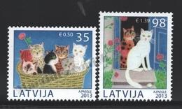 Lettonie – Latvia – Letonia 2013 Yvert 844-45, Domestic Fauna, Cats - MNH - Lettonie