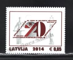 Lettonie – Latvia – Letonia 2014 Yvert 878, 20th Ann. Georgia Latvia Diplomatic Relationships - MNH - Lettonie