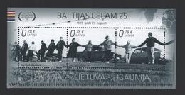 Lettonie – Latvia – Letonia 2014 Yvert BF34, 25th Aniv. Of The Baltic Way - MNH - Lettonie