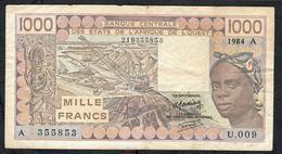 W.A.S. IVORY COAST P107Ad 1000 FRANCS 1984  #U.009 Signature 19 FINE NO P.h. - Côte D'Ivoire