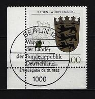 BUND Mi-Nr. 1586 Eckrandstück Links Unten Wappen Baden - Württemberg Gestempelt Berlin - BRD