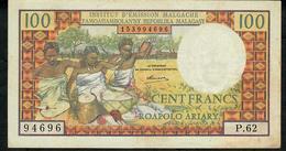 MADAGASCAR RARE VARIETY P57a 100 FRANCS 1966 Signature Ramaroson  VF NO  P.h. ! - Madagascar