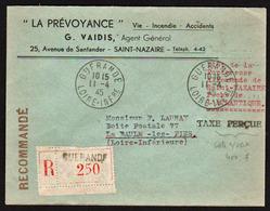 FRANCE: Poche Allemande De St. Nazaire Guerre 1939/45. RARE Lettre Recommandée Obl. Guérande Le 11/04/45........... - Storia Postale