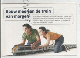 """Carte Boomerang. NMBS-Groep/ SNCB:""""Bouw Mee Aan De Trein Van Morgen"""". Construisez Le Train De Demain. - Publicité"""