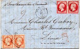 Lettre (3 Pages)pour Lima (Pérou) Aff.no16 Et 17 Paires(marges Courtes) De Bordeaux-1861. - Marcophilie (Lettres)