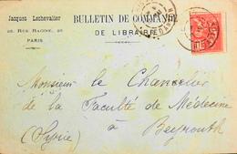 C-L - Bulletin De Commande - Cachet Paris Rue Danton - Affr. N° 116 Y & T - Au Verso Tampon De BEYROUTH Daté 1901 - Frankreich