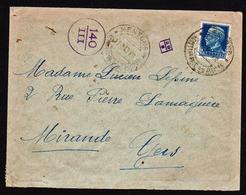 FRANCE: Occupation Italienne à Menton (Mentone) Timbre D'Italie N° 234 Obl. Mentone Le 11/03/43 Pour Mirande (gers) - Guerra Del 1939-45