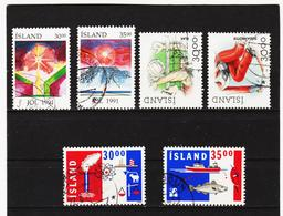 POL1829 ISLAND 1991/92  Michl 758/61 + 766/67 Gestempelt SIEHE ABBILDUNG - Gebraucht