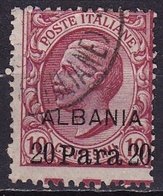 Italian Post In Albania 1902 / 1908 : Italian Stamp Overprinted ALBANIA 20 Para On 10 L Red Michel 3 - Buitenlandse Kantoren