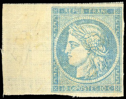 (*) Essai. 10c. Bleu Sur Papier Toilé. BdeF. TB(cote : 0) - 1849-1850 Cérès