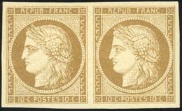 * 10c. Bistre-jaune. Paire. Très Belle Gomme. SUP.(cote : 0) - 1849-1850 Cérès