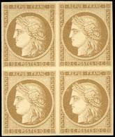 * 10c. Bistre-brun. Bloc De 4. 2 Timbres Sont **. SUP.(cote : 14000) - 1849-1850 Cérès