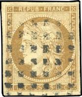 O 10c. Bistre. Obl. Gros Points. TB.(cote : 380) - 1849-1850 Cérès