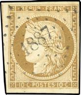 O 10c. Bistre-clair. Obl. PC. 1887. B.(cote : 0) - 1849-1850 Cérès