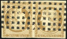 O 10c. Bistre. Paire Tête-bêche. Obl. Gros Points. SUP. R.(cote : 23000) - 1849-1850 Cérès