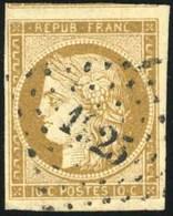 O 10c. Bistre-brun. Obl. TB.(cote : 450) - 1849-1850 Ceres