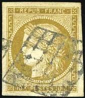 O 10c. Bistre-verdâtre. Obl. Grille. Très Grandes Marges. TB.(cote : 500) - 1849-1850 Cérès