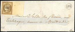 O 10c. Bistre-brun Avec Grand BdeF Obl. ''OR'' S/lettre Presque Complète à Destination De MONTARDIER. Trait De Plume Dan - 1849-1850 Ceres
