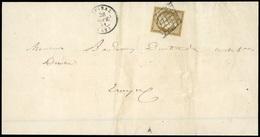 O 10c. Bistre-verdâtre Foncé. Obl. S/lettre Frappée Du CàD D'EPINAL Du 26 Septembre 1851 à Destination De TROYES. Nuance - 1849-1850 Ceres