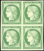 ** 15c. Vert. Bloc De 4. Réimpression De 1862. Frâicheur Postale. SUP.(cote : 3400) - 1849-1850 Ceres