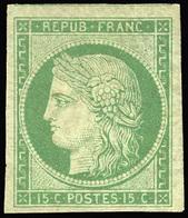 (*) 15c. Vert. Grandes Marges. Reste De Gomme. SUP.(cote : 10000) - 1849-1850 Cérès
