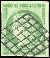 O 15c. Vert. Grande Marges. Obl. SUP.(cote : 1050) - 1849-1850 Ceres