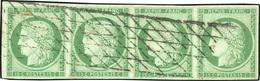 O 15c. Vert. Bande De 4. Obl. Légère Grille Sans Fin. Timbres En Parfait état. Pièce Exceptionnelle. SUP.(cote : 13500) - 1849-1850 Ceres