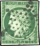 O 15c. Vert Foncé. Obl. étoile. Petites Marges. B.(cote : 1250) - 1849-1850 Ceres