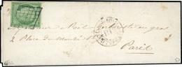 O 15c. Vert Obl. Grille S/lettre Manuscrite Du 21 Août 1850 Frappée Du CàD Rouge ''P.P'' De 1850 à Destination De PARIS. - 1849-1850 Cérès