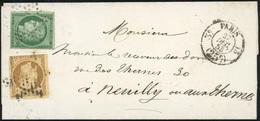 O 15c. Vert + 10c. Bistre-jaune (déf.) Obl. étoile S/lettre Frappée Du CàD Taxe 25c. De PARIS Du 27 Décembre 1853 à Dest - 1849-1850 Ceres