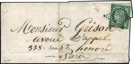 O 15c. Vert Foncé Obl. étoile De Paris S/lettre à Destination De La Rue Saint Honoré. Très Beau. Ex. Collection Lafayett - 1849-1850 Ceres