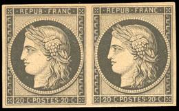 * Paire Du 20c. Noir S/jaune. Réimpression. SUP.(cote : 1000) - 1849-1850 Ceres