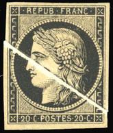 (*) 20c. Noir. Pli D'accordéon. SUP.(cote : 0) - 1849-1850 Cérès